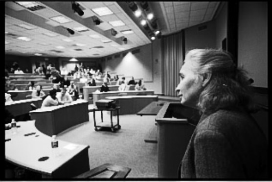 Allison Des Forges, senior adviser to Human Rights Watch, presents a lecture on 'genocide in Rwanda' at Harvard University's Kennedy School of Government. Photo Keith Harmon Snow, 2007.