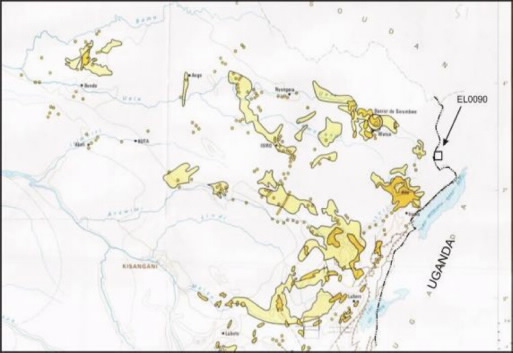 A Vangold Corporation map showing the extent of gold concessions in northeastern Congo, with an arrow denoting the Vangold property on the DRC-Uganda border, making it clear why there is so much bloodshed in DRC's Orientale Province. Image from Vangold web site.