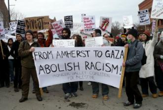 A range of organizations came out in Amherst, Mass., on February 7 in solidarity with the people of Gaza. (SW)
