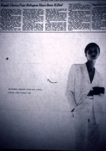 "The mass media was flooded with ""Rwanda genocide"" disinformation between April and July of 1994, and advertising that served up subliminal seduction and white supremacy often surrounded these 'news' clips. This adverts' sexualized message—MODERN MEANS STAYING COOL, CALM AND DIRECTED—is augmented by a sanitized 'news' clip that described the double presidential assassination as a ""mysterious plane crash."" <em>New York Times</em>, June 12, 1994."