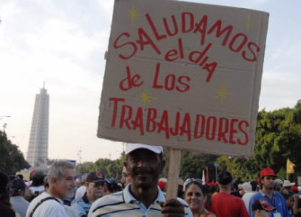 Cuban Workers March on May Day. Photo: Bill Hackwell