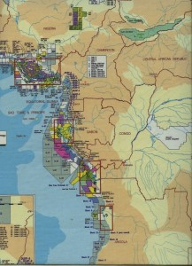1997 industry map of oil concessions in the Gulf of Guinea and along the West Coast of Africa. Yellow blocks are ELF (see KEY below).
