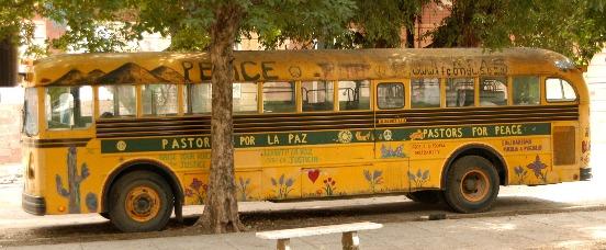 A previous Pastors for Peace Caravan school bus in Vedado, Havana: defying the U.S. blockade for eighteen years.