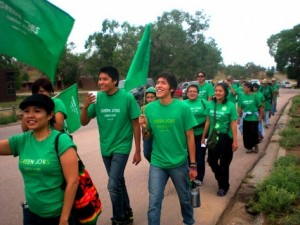 A march in support of green jobs legislation in New Mexico. Photo: Navajo Green Jobs