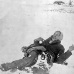 Miniconjou chief Bigfoot lies dead in the snow after massacre at Wounded Knee.