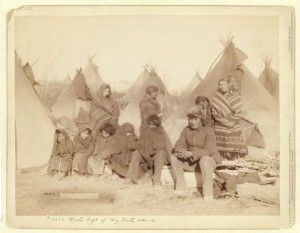 Survivors of Wounded Knee Massacre. Title: What's left of Big Foot's band. 1891.