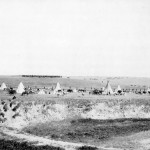 """Reenactment of U.S. troops surrounding the Lakota at Wounded Knee (1913)"""