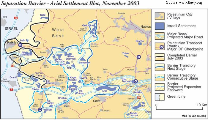 Ariel -- note the West Bank Wall.