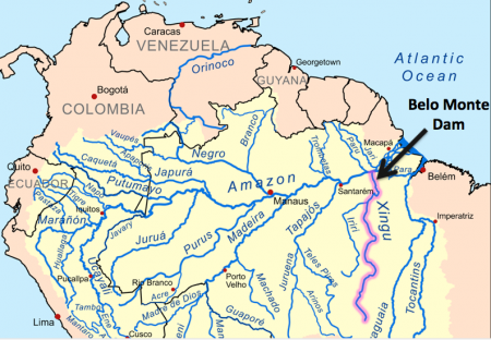 Xingu River (pink) and the site of Brazil's Belo Monte Dam (arrow).