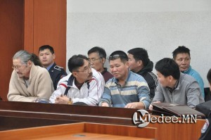 The six environmental leaders accepted their sentences in court with dignity and calm.  Ts. Munkhbayar is the 3rd from left, front row. Photo 21 January 2014.