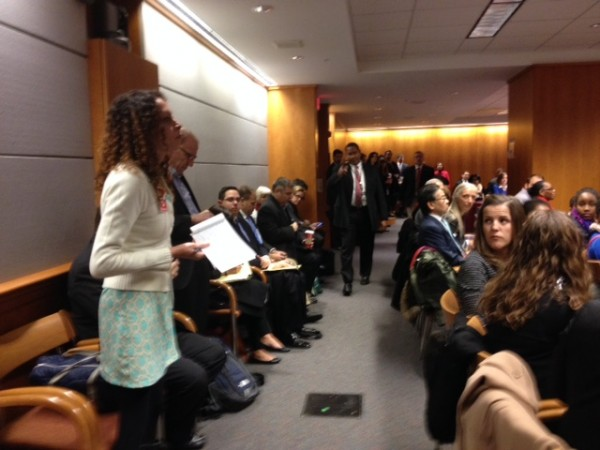 Vanessa Beck speaks out for net neutrality. Photo by Martha Allen.