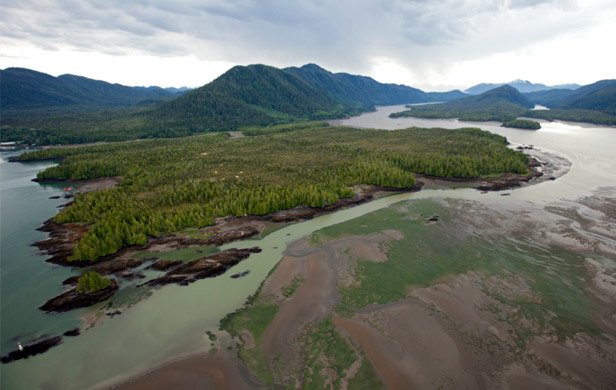Lelu Island and Flora Bank (fore) – site of contentious proposed LNG plant  (Skeena Watershed Conservation)
