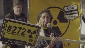 Charmaine White Face speaks in front of the EPA