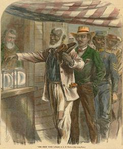 A Harper's depiction of freed slaves participating in their first election during Reconstruction (Alfred R. Waud | Harper's Weekly)