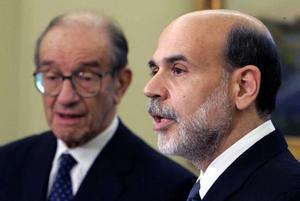 Alan Greenspan (L) and Ben Bernanke