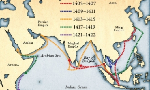 "The voyages of Zheng He, who was one of the greatest admirals in history. Unlike all the marauding, 15th-17th century European pirates, whom we mythically call ""explorers"" and ""settlers"", the Chinese traded goods, technology and diplomacy everywhere they sailed, not committing genocide, rape, slavery and theft. (Image by Rochester.edu)"